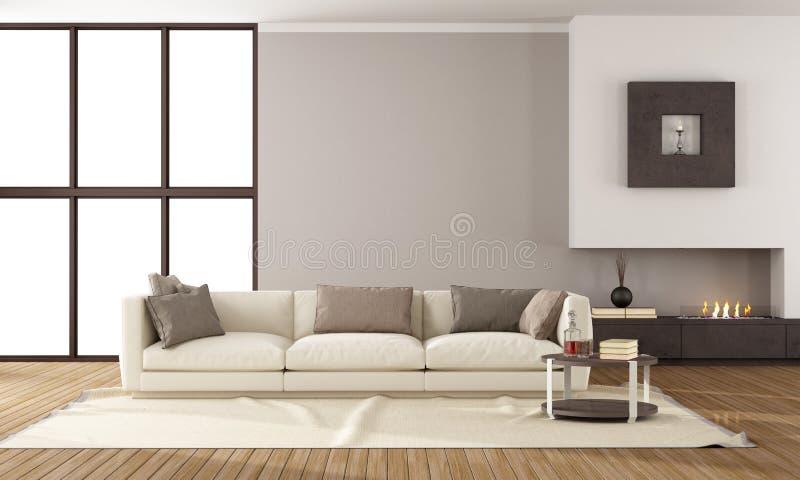 Salon moderne avec la cheminée illustration stock