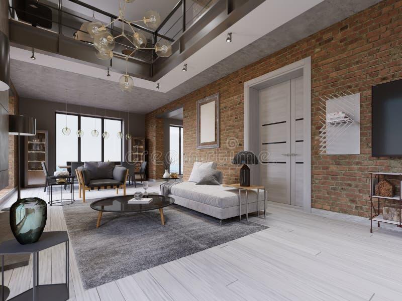 Salon moderne avec la salle à manger et table de salle à manger dans un appartement de style du grenier illustration libre de droits