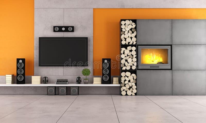 Salon moderne avec la TV et la cheminée illustration de vecteur