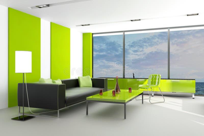 Salon moderne avec la vue de paysage illustration de vecteur