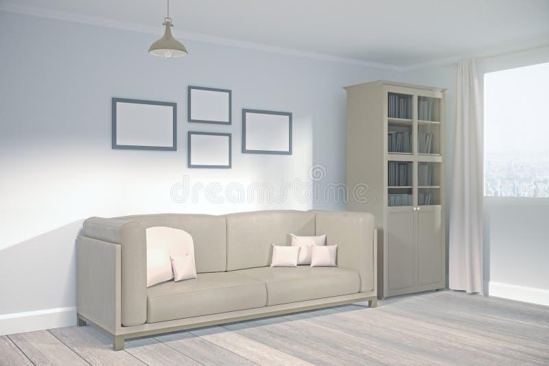 Salon moderne avec le côté vide de panneau d'affichage illustration de vecteur