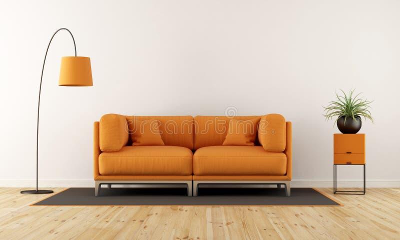 Salon Moderne Avec Le Divan Orange Illustration Stock Illustration - Divan salon