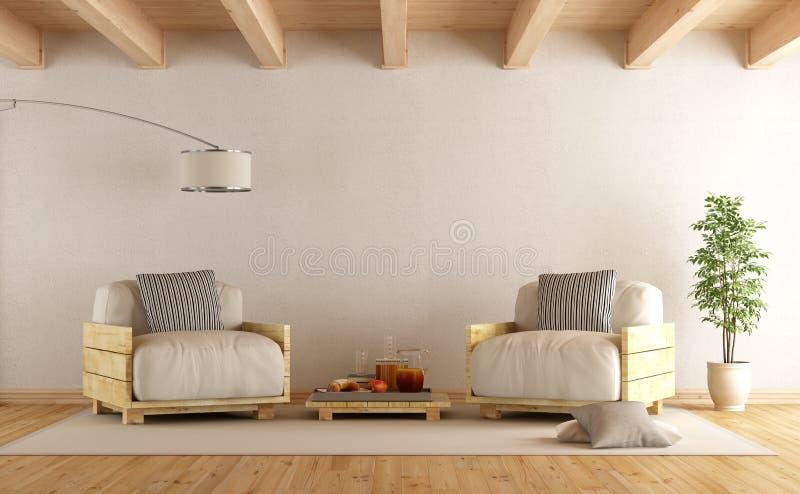 Salon Moderne Avec Le Fauteuil De Deux Palettes Illustration Stock ...