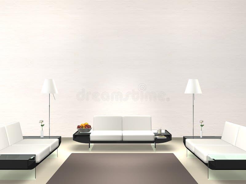 salon moderne avec le mur blanc illustration stock illustration du foyer ambiance 21135049. Black Bedroom Furniture Sets. Home Design Ideas