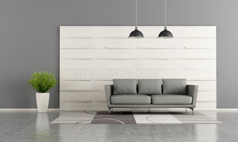 salon moderne avec le panneau en bois blanc illustration stock illustration du int rieur. Black Bedroom Furniture Sets. Home Design Ideas
