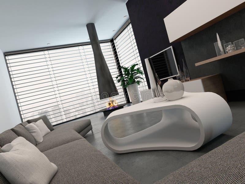 Salon moderne avec les meubles et la cheminée gentils illustration de vecteur