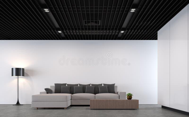 Salon moderne de grenier avec l'image en acier noire de rendu du plafond 3d illustration stock