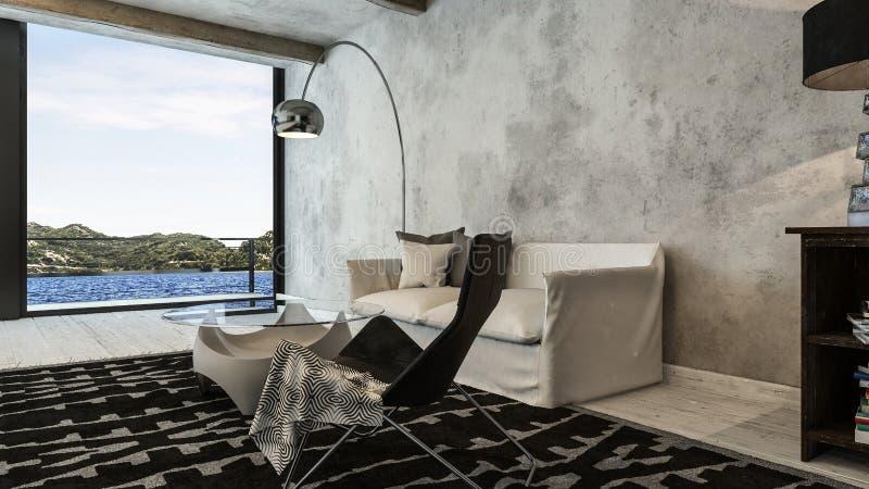 Salon moderne et industriel d'appartement terrasse avec la vue illustration libre de droits
