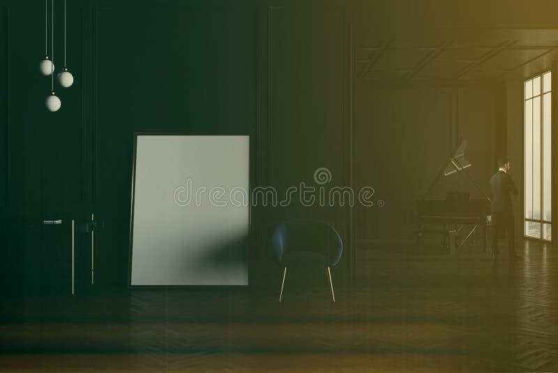 Salon noir avec le piano et affiche modifiée la tonalité illustration stock