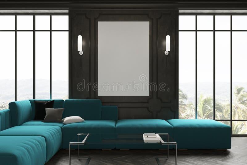 Salon noir, sofa bleu et affiche illustration de vecteur
