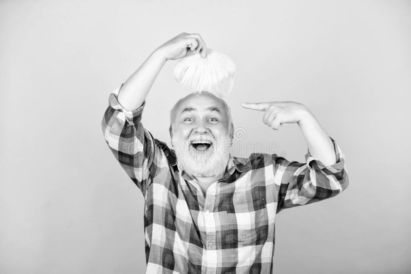 Salon Without The Pretense. senior man with gray beard. mature bearded man in white wig. Hairloss concept. grandfather royalty free stock photography