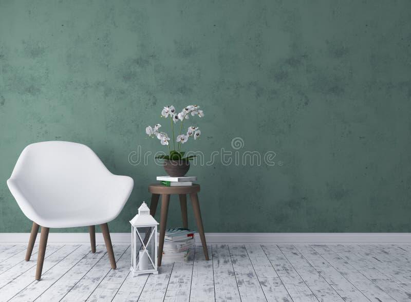 Salon rustique avec la chaise, chandelier, orchidée illustration de vecteur