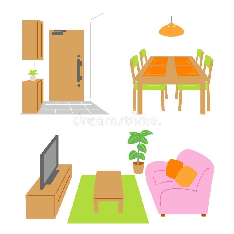 Salon, salle à manger, porte illustration de vecteur