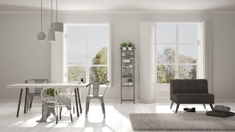 Salon scandinave avec de grandes fenêtres, panorama de jardin en Ba images stock
