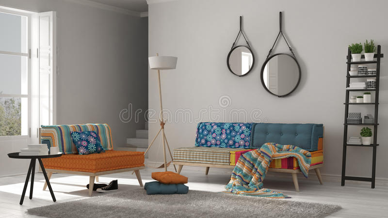 Salon scandinave avec le divan, le fauteuil et doux colorés photographie stock libre de droits