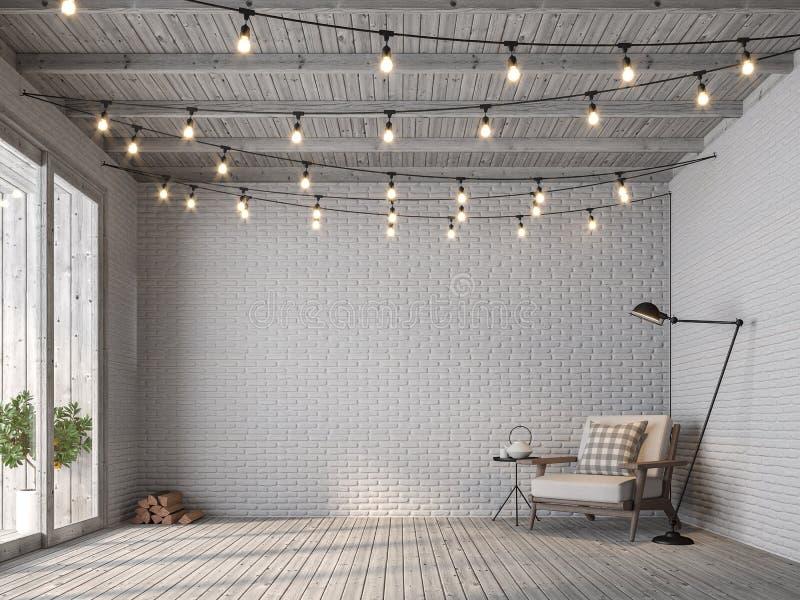 Salon scandinave de style de grenier avec le mur de briques blanc 3d rendre illustration libre de droits