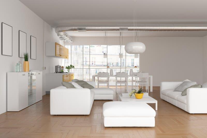 Salon skandinavian lumineux moderne de conception intérieure illustration libre de droits
