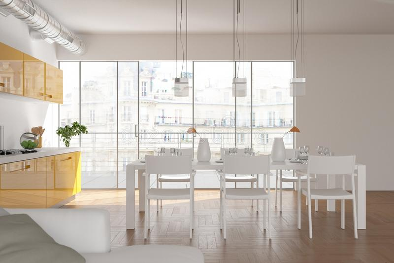 Salon skandinavian lumineux moderne de conception intérieure illustration stock
