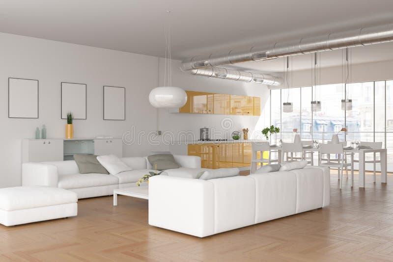Salon skandinavian lumineux moderne de conception intérieure photo libre de droits
