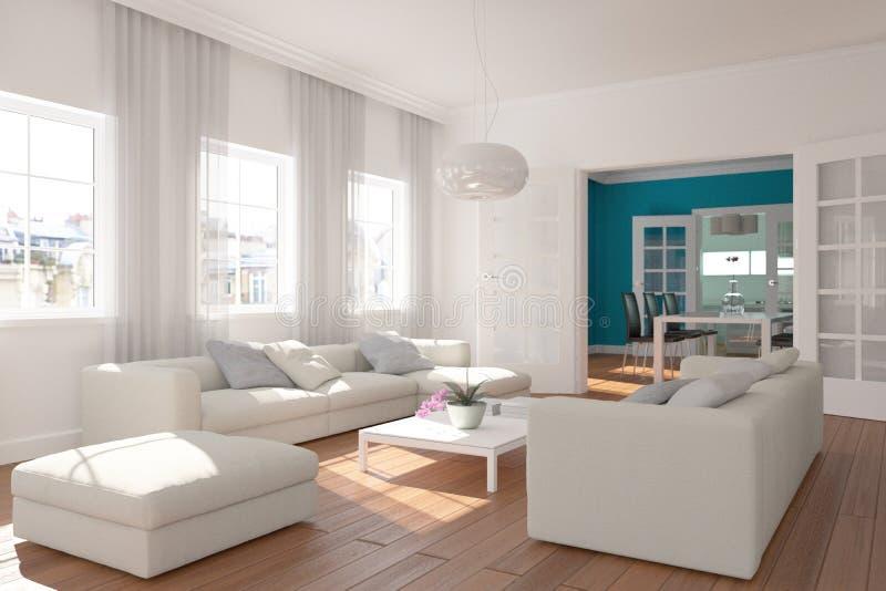 Salon skandinavian lumineux moderne de conception intérieure illustration de vecteur