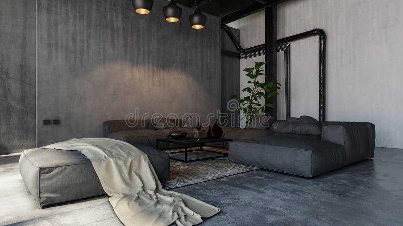 Salon spacieux dans le style de grenier illustration libre de droits
