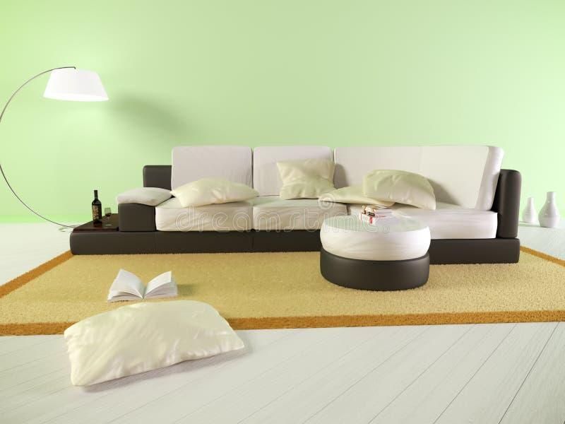 Salon vert avec le sofa et les livres photo libre de droits