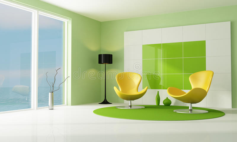 Salon Vert Et Blanc Contemporain Illustration Stock - Illustration ...