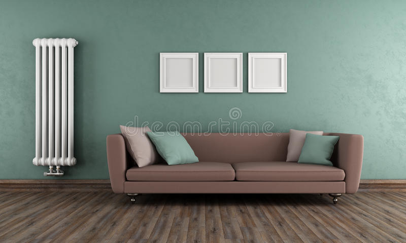 Salon vert et brun de vintage illustration libre de droits