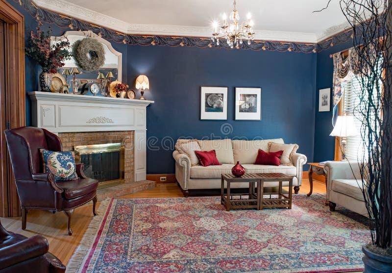 Salon victorien bleu photo libre de droits