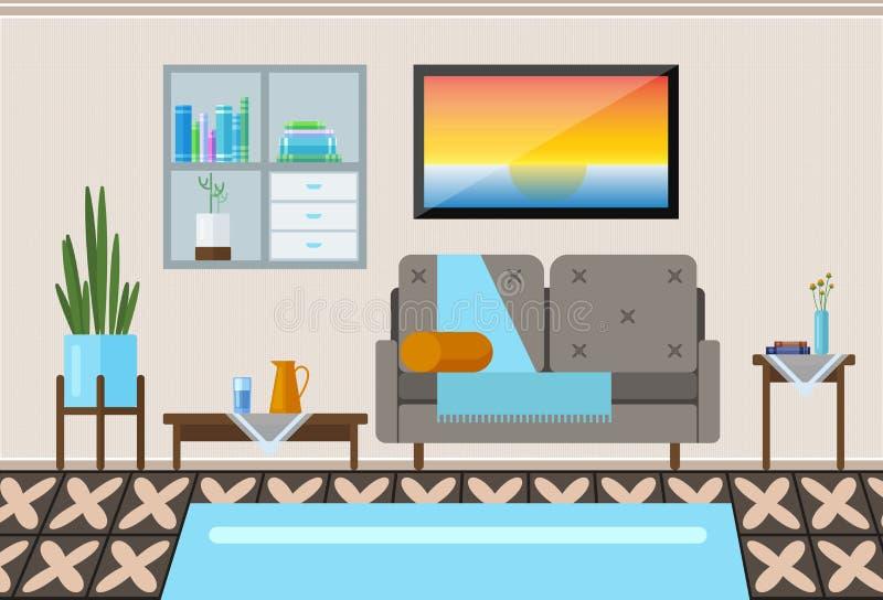 salon wewnętrznego Nowożytna płaska projekt ilustracja Siedzącego pokoju wnętrze royalty ilustracja