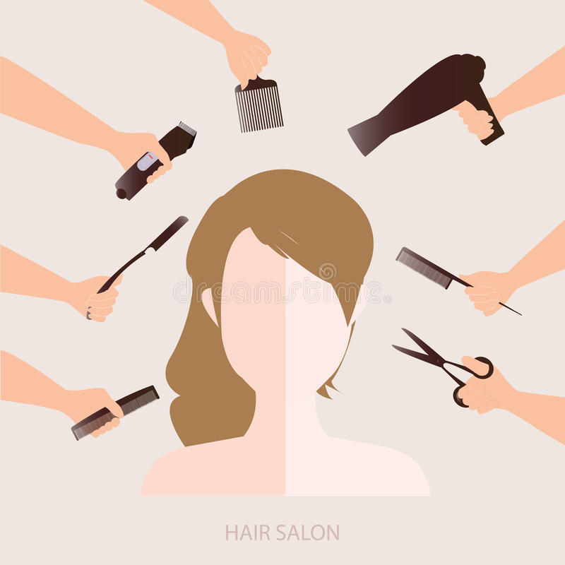 Salon. Women in beauty salon with accessories about hair cut, vector illustration vector illustration