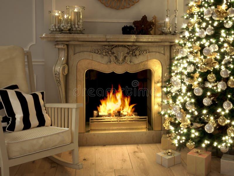 Salone al Natale rappresentazione 3d immagine stock