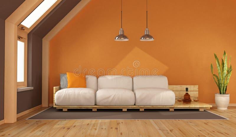 Salone arancio nella soffitta royalty illustrazione gratis