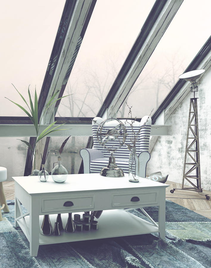 Salone con grande Windows e la decorazione moderna fotografia stock libera da diritti
