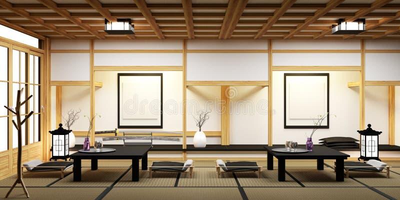 Salone con i bonsai sul minimo della tavola, stuoia di legno di tatami e del pavimento rappresentazione 3d royalty illustrazione gratis
