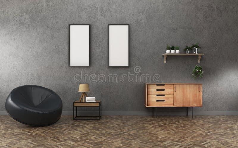 Salone con il bordo bianco due ed il gabinetto spazio di comodità nella località di soggiorno Interior design d'annata illustrazione vettoriale