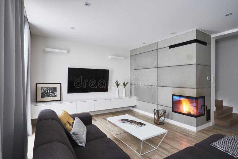 Salone con il camino e le pareti marroni concrete bianche immagine stock