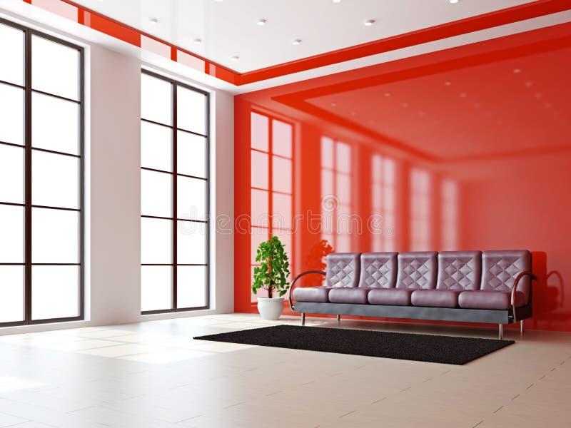 Salone con il sofà di cuoio illustrazione vettoriale
