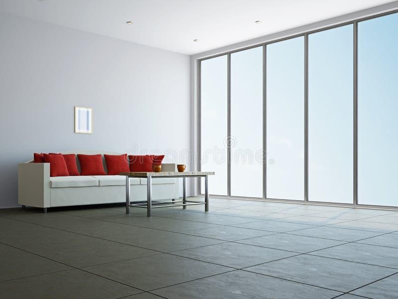 Salone con il sofà e una tabella royalty illustrazione gratis