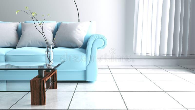 Salone con il sofà ed il vaso con i fiori sul fondo bianco della parete rappresentazione 3d illustrazione di stock