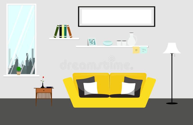 Salone con la mobilia gialla del sofà Illustrazione del salone nella forma piana royalty illustrazione gratis