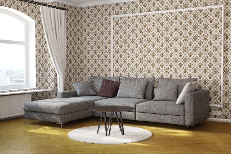 Salone con la tavola ed il tappeto royalty illustrazione gratis
