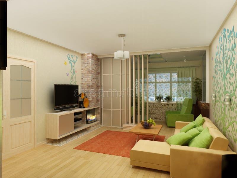 Download Salone Con La Vista Del Paesaggio, Interno 3D Immagine Stock - Immagine di mobilia, granaio: 56890327