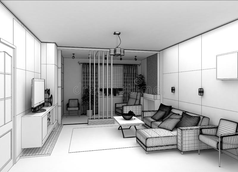 Download Salone Con La Vista Del Paesaggio, Interno 3D Illustrazione di Stock - Illustrazione di moderno, cuscino: 56891348