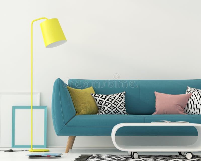 Salone con un sofà blu illustrazione di stock