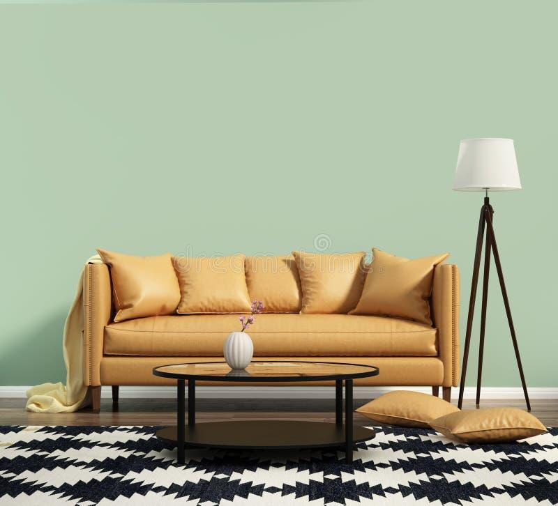 Salone con un sofà di cuoio con la parete verde immagini stock libere da diritti