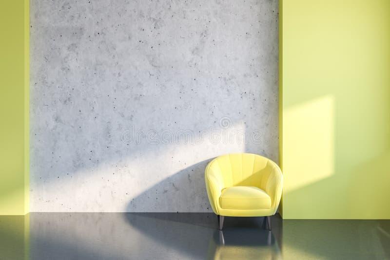 Salone concreto giallo, poltrona gialla fotografia stock