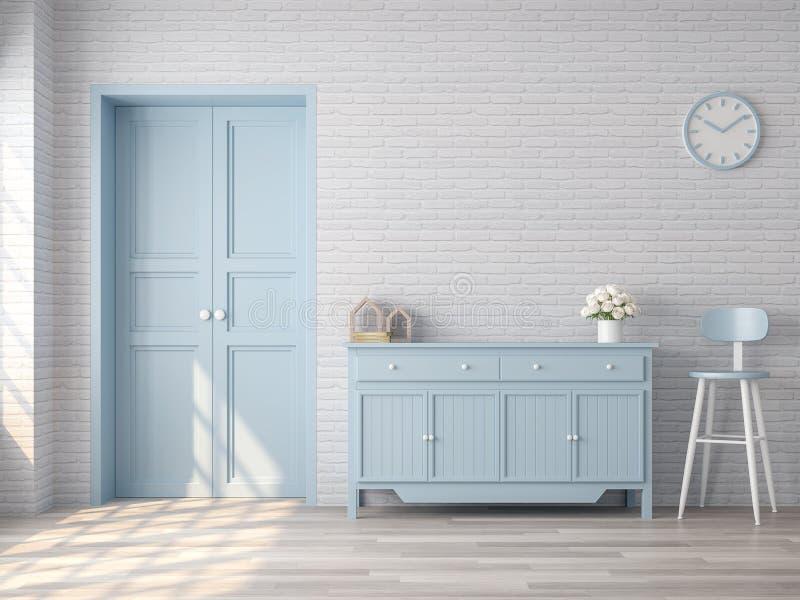 Salone d'annata con colore pastello blu 3d rendere royalty illustrazione gratis