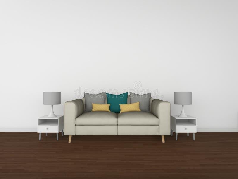 salone della rappresentazione 3D isolato su fondo bianco, interno illustrazione di stock