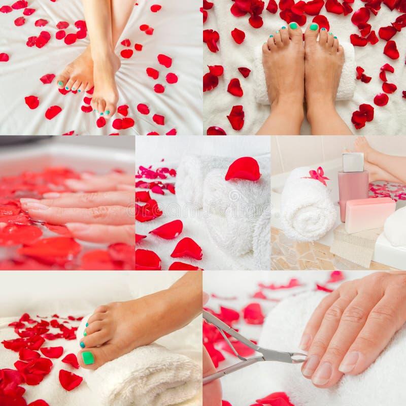 Salone della stazione termale della mano e del piede - collage immagini stock libere da diritti